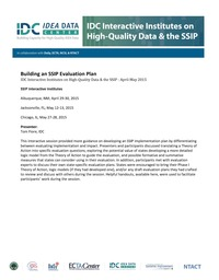 Building an SSIP Evaluation Plan